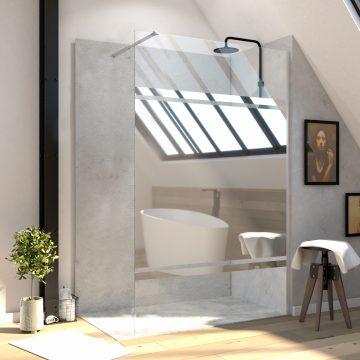 Paroi en verre avec bande miroir pour douche à l'italienne - bras de maintien - 120x200