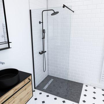 Paroi de douche a l'italienne transparent 90x200cm - Profile noir mat - verre transparent 8mm