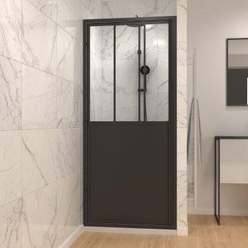 Paroi porte de douche a porte pivotante type atelier - 90x200cm - PROFILE NOIR MAT - verre 5mm