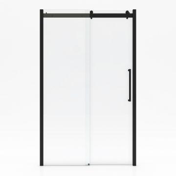 Paroi porte de douche type industriel coulissante NOIR MAT - 120x200cm - verre trempe 8mm