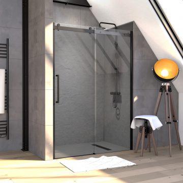 Paroi porte de douche 140x200cm type industriel coulissante NOIR MAT - verre trempe 8mm