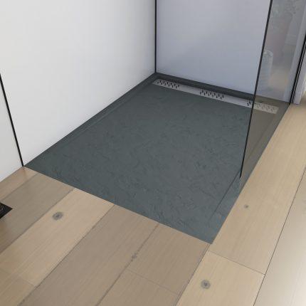 Receveur extra plat a poser 120x80 cm caniveau - acrylique renforce gris effet pierre