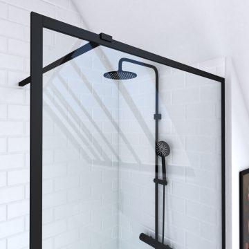 Paroi de douche a l'italienne 100x200 verre trempe 6mm-cadre et barre de fixation ajustable NOIR MAT