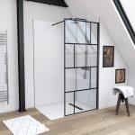 Paroi de douche a l'italienne serigraphie type brique - 100x195cm - Profile noir mat - verre 5mm
