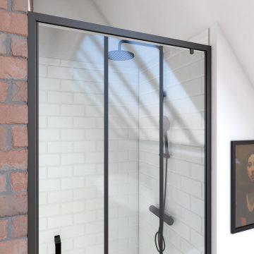 Paroi porte de douche pivotante type industriel - 90x200cm -  PROFILE NOIR MAT - verre  6mm
