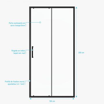 Paroi porte de douche coulissante-100x200 -PORTE COULISSANTE -PROFILE NOIR MAT-verre transparent 6mm
