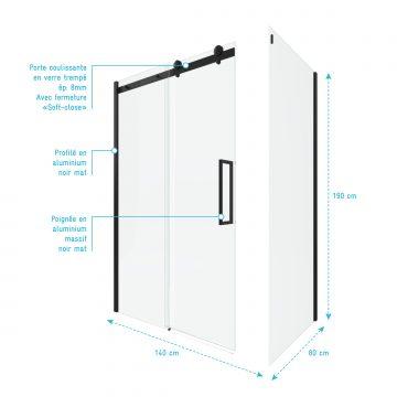 PAROI PORTE DE DOUCHE COULISSANTE 140x200 cm noir mat - rail soft close + RETOUR 80 cm