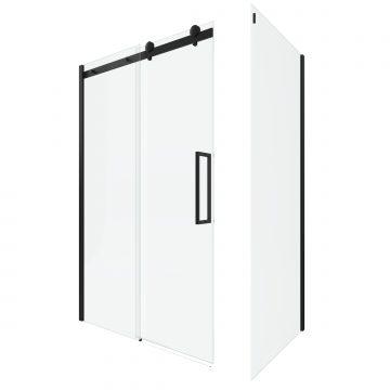 PAROI PORTE DE DOUCHE COULISSANTE 140x200 cm noir mat - rail soft close + RETOUR 90 cm