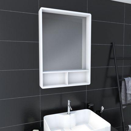 Miroir salle de bain 50x70cm - avec étagères - NORDIK HYLLA