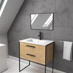 Ensemble meuble de salle de bain - Chêne naturel avec pieds style industriel - 2 tiroirs - mirroir