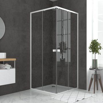 Pack porte de douche coulissante blanc de 78 à 90x185cm + receveur 80x80 - WHITY SLIDE