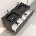 Pack meuble de salle de bain 130x50 cm finition Graphite + vasque Noir + Miroir LED 140x70