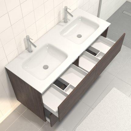 Pack meuble de salle de bain 130x50 cm finition Graphite + vasque blanc + Miroir LED 140x70