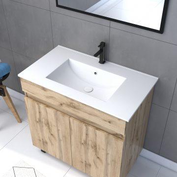 Meuble salle de bain 80x80 - Finition chene naturel + vasque blanche + miroir - TIMBER 80 - Pack25