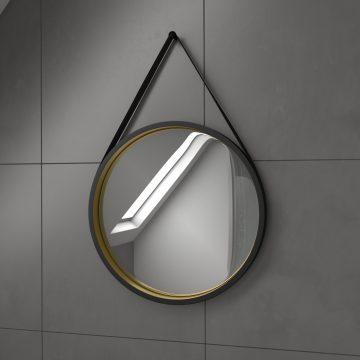 Ensemble de salle de bain 80x60 - Tiroirs finition chêne naturel + vasque + miroir rond BARBER GOLD