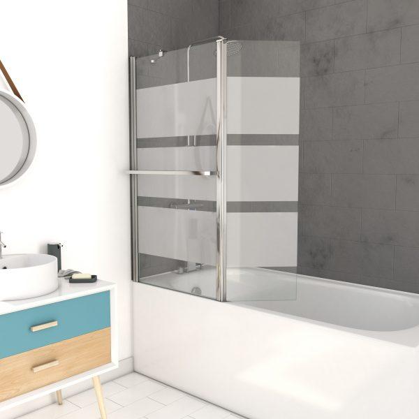 Pare baignoire + volet pivotant 130x105- Profile aluminium chrome et verre transparent bande depolie