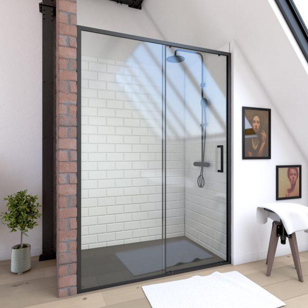 Paroi porte de douche a porte coulissante -  140x200cm - PORTE COULISSANTE - PROFILE NOIR MAT