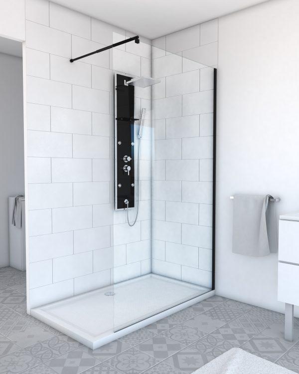 Paroi de douche a l'italienne transparent 120x200cm - verre transparent 8mm - profile noir mat