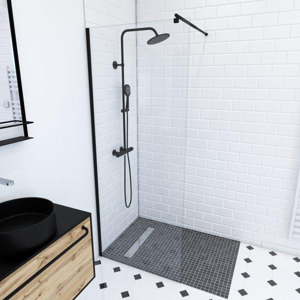 Paroi de douche a l'italienne transparent 80x200cm - verre transparent 8mm - profile noir mat