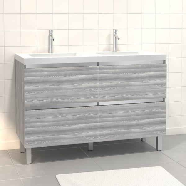 Pack Meuble de salle de bain 130x50 cm MDF Chêne gris blanc - 2 Tiroirs + vasque résine blanche