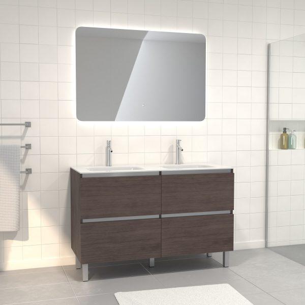 Pack meuble de salle de bain 130x50 cm finition Graphite + vasque blanc + Miroir LED 120x80