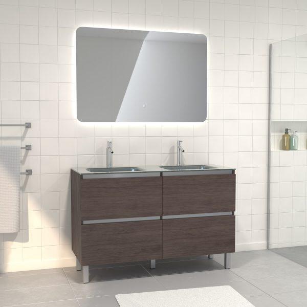 Pack meuble de salle de bain 130x50 cm finition Graphite + vasque Argent + Miroir LED 120x80