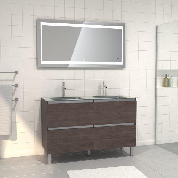 Pack meuble de salle de bain 130x50 cm finition Graphite + vasque Argent + Miroir LED 140x70