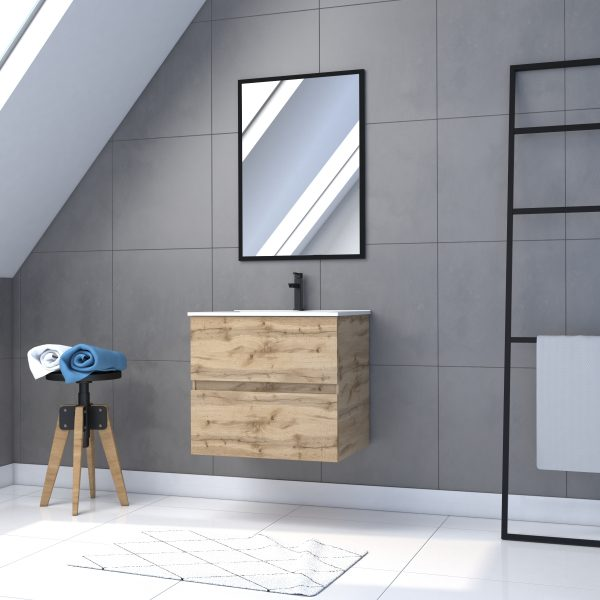 Meuble de salle de bain 60x54cm - tiroirs finition chêne naturel + vasque + miroir noir - TIMBER 60