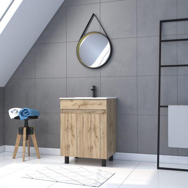 Ensemble de salle de bain 60x80 - Portes finition chêne naturel + vasque + miroir rond BARBIER