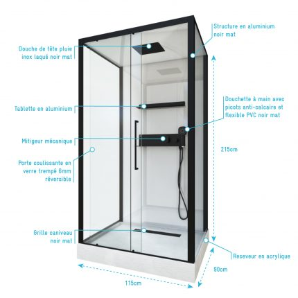 Cabine de douche rectangle 90x115x215cm extra blanc - profilés laqué noir mat - GHOST RECTANGLE