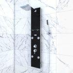 Colonne de douche a hyrdomassage - 22x125cm - en verre trempe + buses hydromassantes - EPSILON BLACK
