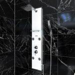 Colonnne de douche a hyrdomassage - 22x125cm - en verre trempe + buses hydromassantes- EPSILON WHITE