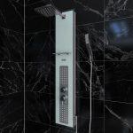 Colonne de douche à hyrdomassage - 22x125cm - en verre trempé avec plaque inox - ALPHA WHITE