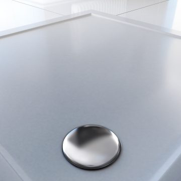 RECEVEUR DE DOUCHE A POSER EXTRA PLAT EN ACRYLIQUE BLANC CARRE- 90x90 cm - BAC DE DOUCHE