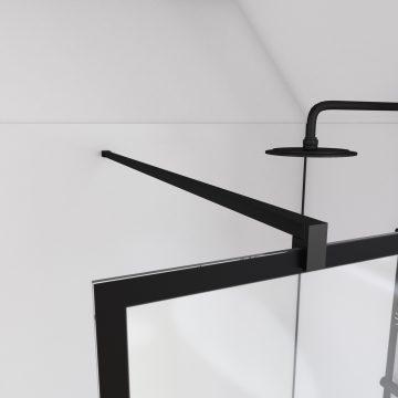 Paroi de douche 140x200 cm type verrieres - verre trempe 5mm et structure aluminium noir mat