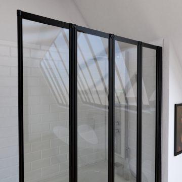 Pare baignoire 4 volets pivotants - profiles noir mat - verre transparent 4mm - TETRA BLACK