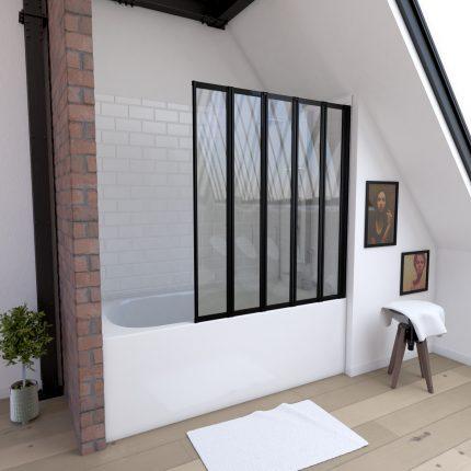 Pare baignoire 5 volets pivotants - profiles noir mat - verre transparent 4mm - QUINTUPLE BLACK