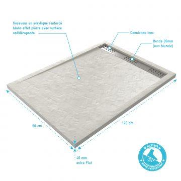 Receveur extra plat à poser 120x90cm caniveau - acrylique blanc effet pierre - anti-dérapant - MOON