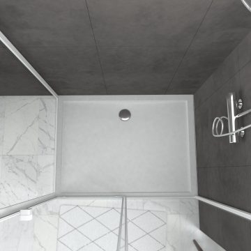Pack porte de douche Coulissante blanc extensible 120X185 + paroi de retour 90cm - WHITY