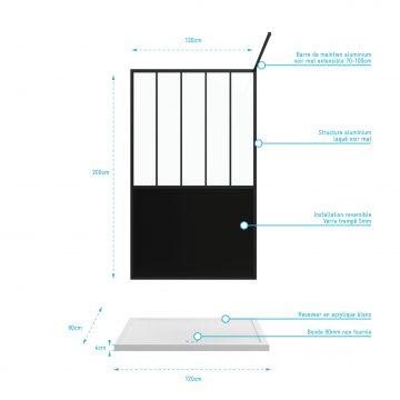 Pack Paroi de douche 120x200 cm  noir mat - verre trempe 5mm +  RECEVEUR  A POSER RECTANGLE 120x80