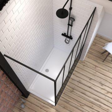 Pack Paroi de douche 140x200 cm noir mat - verre trempe 5mm + RECEVEUR  A POSER RECTANGLE - 140x80cm