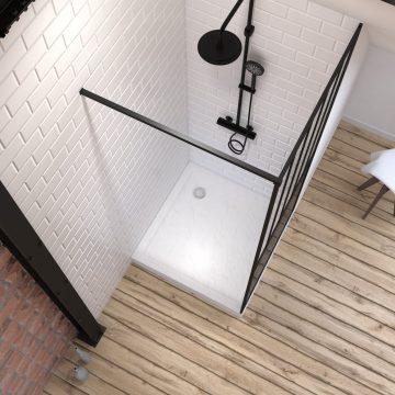 Pack Paroi de douche 90x200 noir + Receveur haut a poser blanc effet pierre 90x90 - anti-derapant