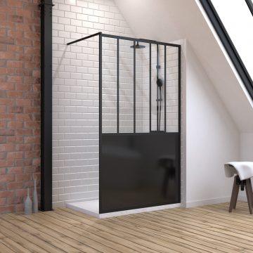 Pack Paroi de douche 120x200 cm noir mat + Receveur a poser rectangle blanc - finition pierre