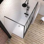 Pack Paroi de douche 120x200 cm noir mat  + Receveur haut a poser 120x80  blanc effet pierre