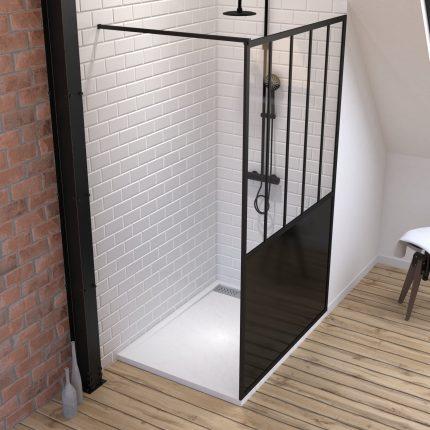 Pack Paroi de douche 120x200 cm noir mat + Receveur extra plat à poser blanc - caniveau