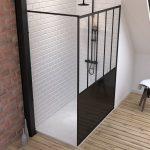 Pack Paroi de douche 90x200 cm noir mat + Receveur a poser en composite SMC 90x140 cm