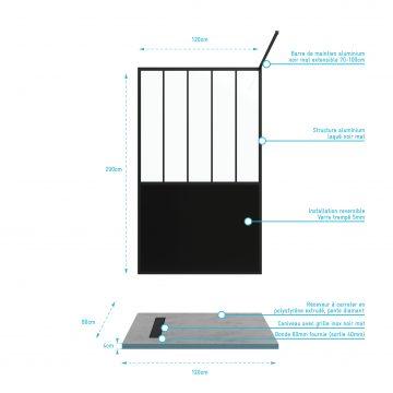 Pack Paroi de douche 120x200 cm noir mat + RECEVEUR DE DOUCHE A CARRELER 80x120CM RECOUPABLE