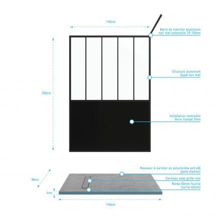 Pack Paroi de douche 140x200 cm noir mat + RECEVEUR DE DOUCHE A CARRELER 90x140CM RECOUPABLE