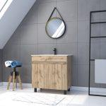 Meuble salle de bain 80x80 -Finition chene naturel + vasque blanche + miroir barber-TIMBER 80-Pack28