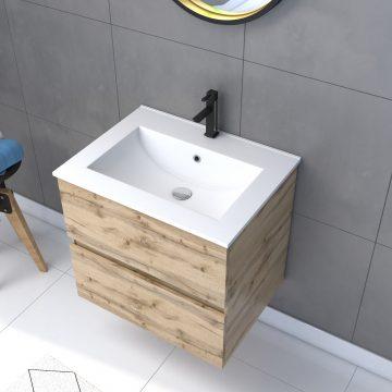 Meuble salle de bain 60x54 - Finition chene naturel - vasque + miroir barber - TIMBER 60 - Pack32